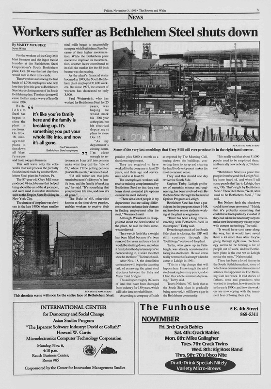 Workers suffer as Bethlehem Steel shuts down (Brown and White Vol. 103 no. 15)