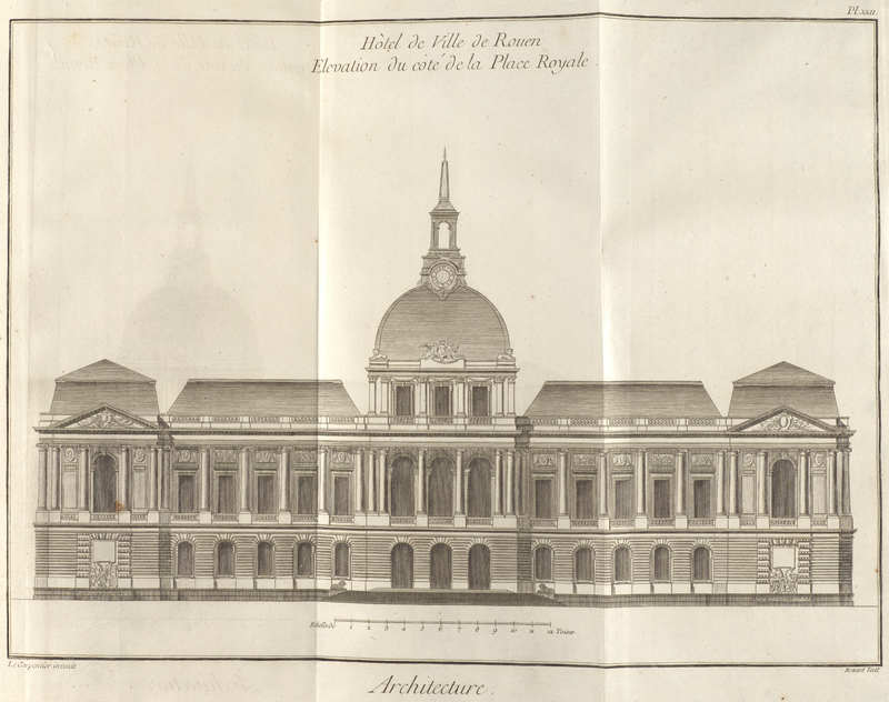 Volume 1, Architecture and Related Subjects – Fourth Part (Architecture et parties qui en dépendent – Quatrième partie) Plate XXII: Town Hall of Rouen: Elevation of the side of Place Royale<br />