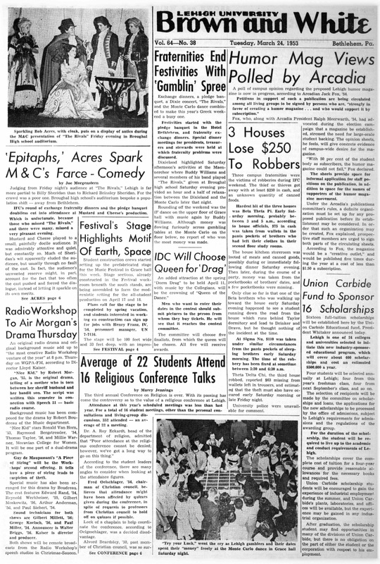 'Epitaphs,' Acres Spark M&C's Farce-Comedy (Brown and White Vol. 64 no. 38)