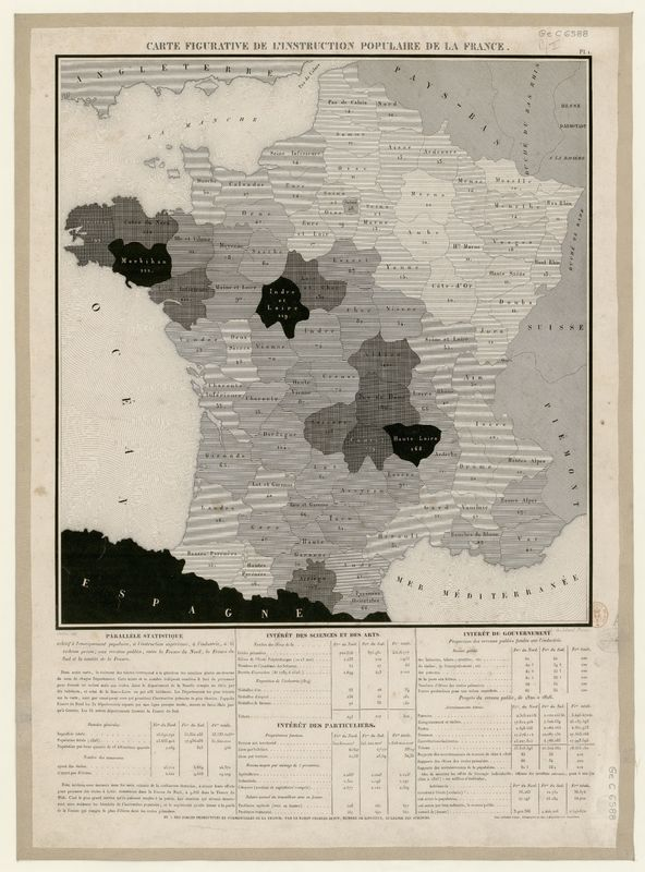 Carte figurative de l'instruction populaire de la France, pl. I.