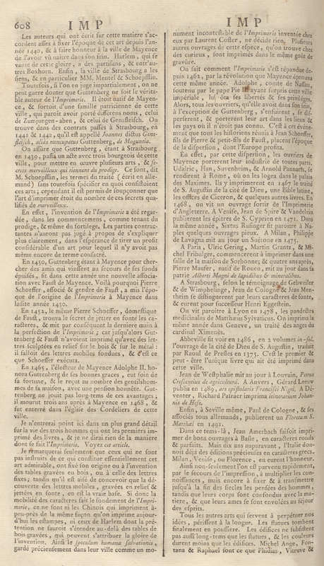 Vol. 8, History of Printing (Imprimerie) pp. 607
