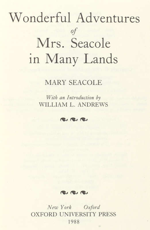 Wonderful Adventures of Mrs. Seacole in Many Lands- Title
