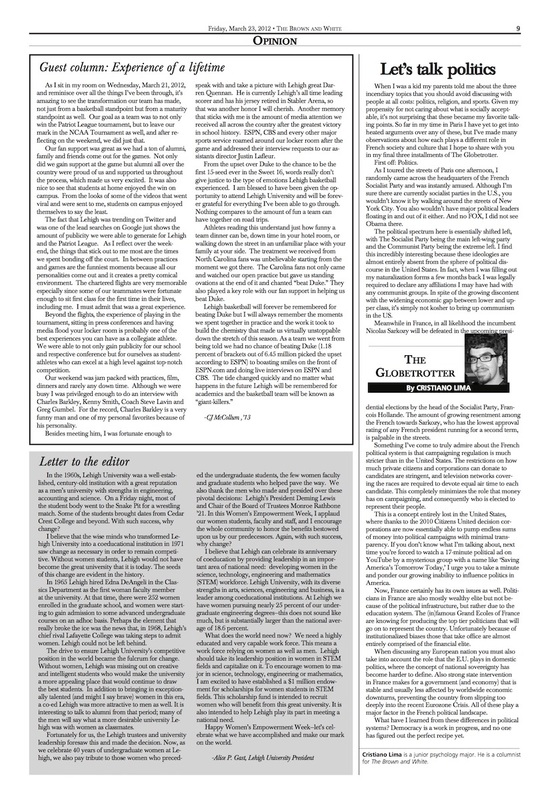 Guest column: Experience of a lifetime (Brown and White Vol. 122 no. 15)