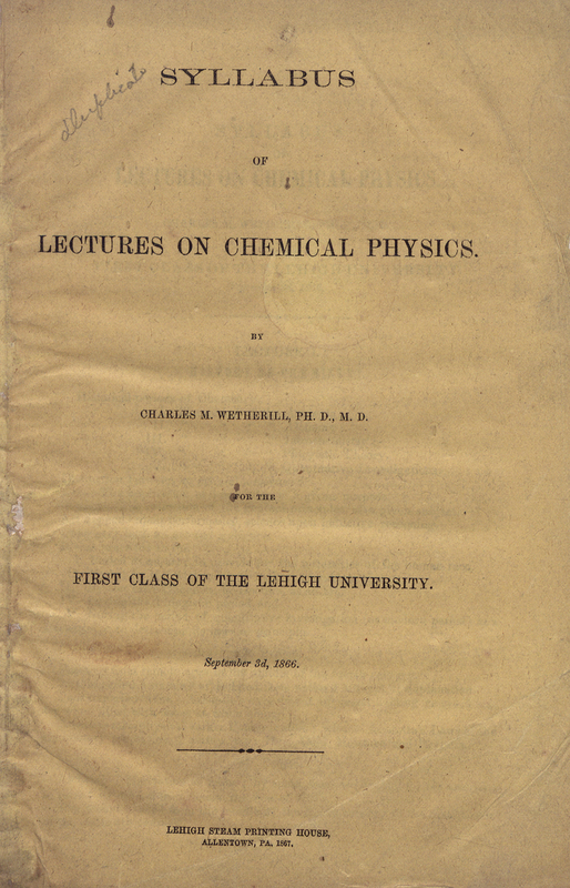 syllabus of lectures on chemical physics