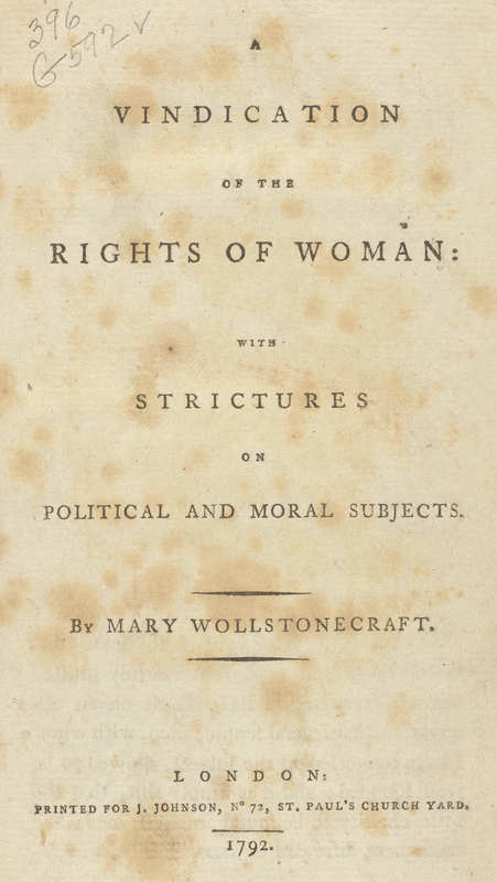A Vindication of the Rights of Woman: with Strictures on Political and Moral Subjects- Title Page