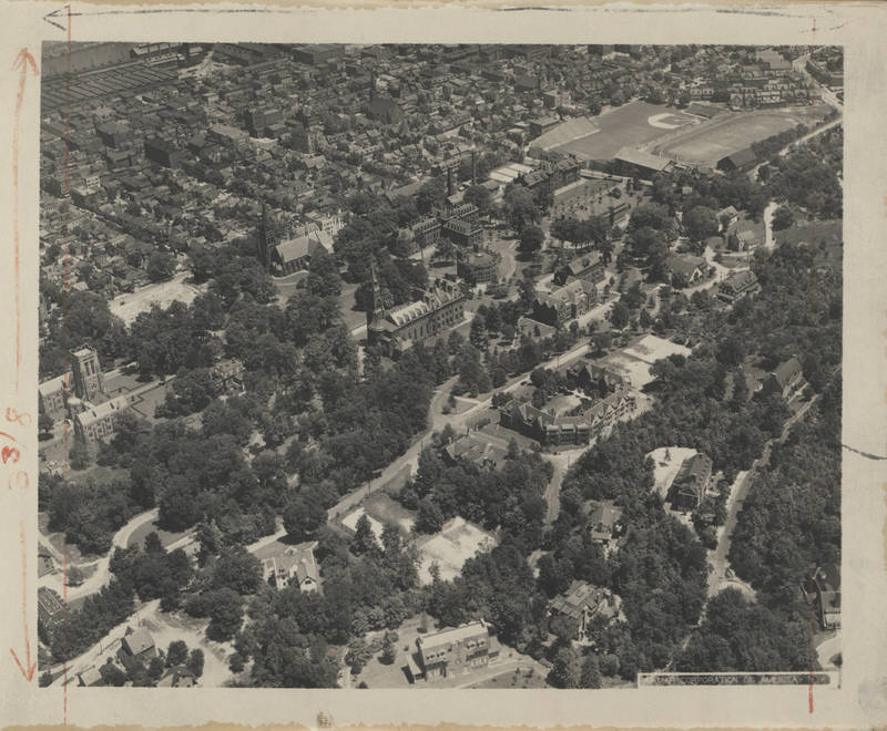Aerial view / Taylor Residential College; Packer Hall, the University Center; Linderman Library; Alumni Memorial Building; Chandler Ullmann Hall; Sayre Park / Fraternity houses