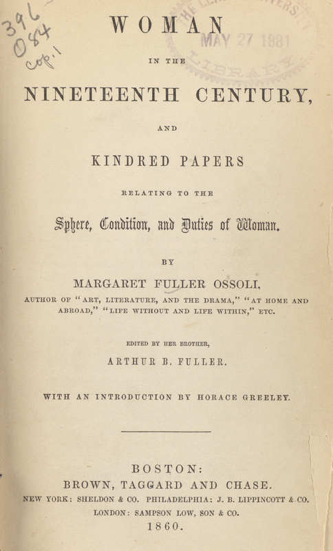 Woman in the Nineteenth Century and Kindred Papers- Title