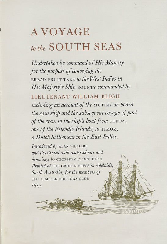 A Voyage to the South Seas: Undertaken by Command of His Majesty, for the Purpose of Conveying the Bread-Fruit Tree to the West Indies in His Majesty's Ship the Bounty Commanded by Lieutenant William Bligh Including an Account of the Mutiny on Board the Said Ship?