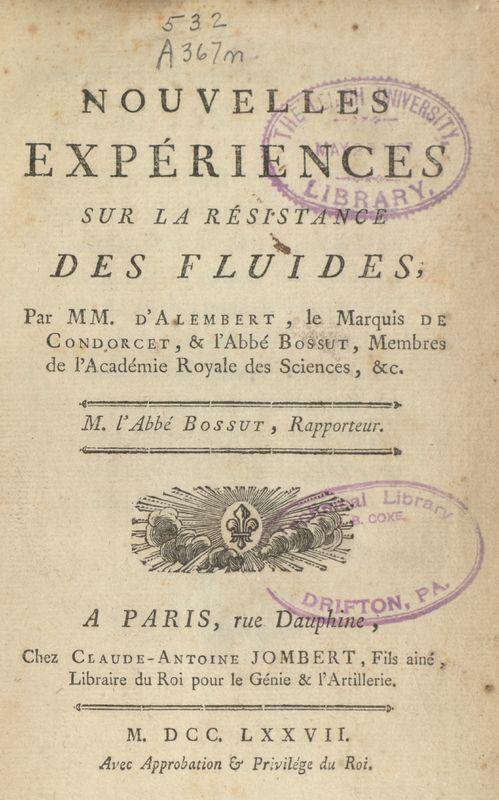 Nouvelles experiences sur la résistance des fluides.<br />