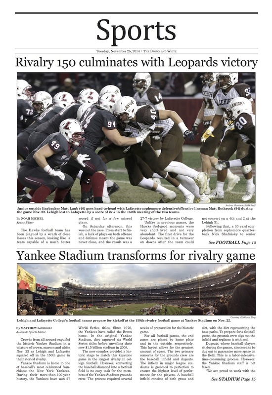 Rivalry 150 culminates with Leopards victory; Yankee Stadium transforms for rivalry game (Brown and White Vol. 127 no. 23