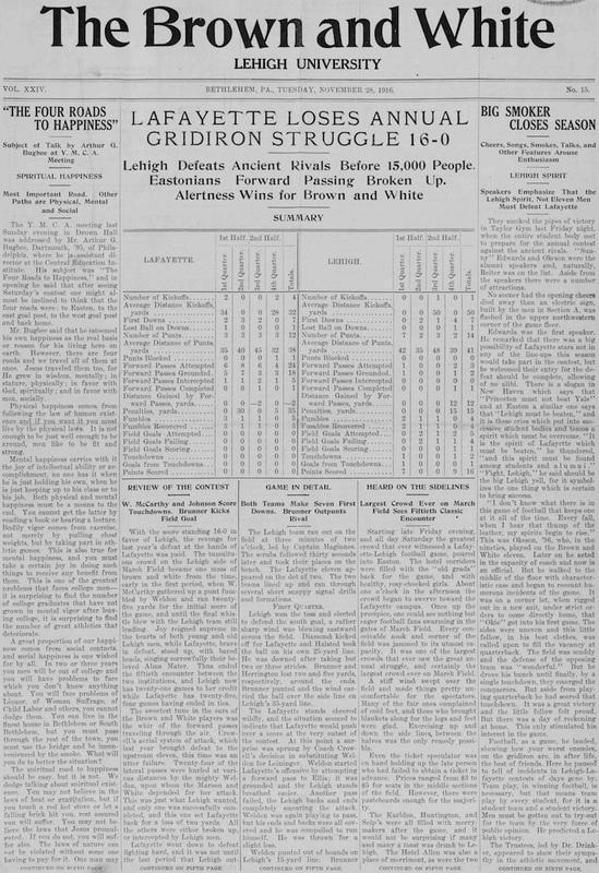 Lafayette Loses Annual Gridiron Struggle 16-0 (Brown and White Vol. 24 no. 15)