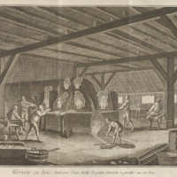 Volume 10, Glass Making – Wood Glass Making or Bottle Glass Making (Verrerie – Verrerie en bois ou petite verrerie à pivette) Plate I: Interior of a Wood or Bottle Small Glass Making Manufacture<br />