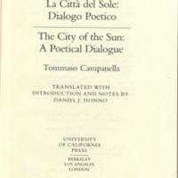 La citt? del sole: dialogo poetico = The City of the Sun: a poetical dialogue