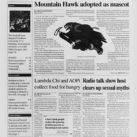 Mountain Hawk adopted as mascot (Brown and White Vol. 103 no. 16)